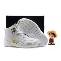 2017 Kids Air Jordan 12 All White Gold Basketball Shoes Discount
