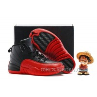 2017 Kids Air Jordan 12 Black/Varsity Red Basketball Shoes Online