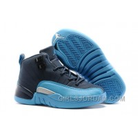 "2017 Kids Air Jordan 12 ""Blue Navy"" Basketball Shoes Discount"