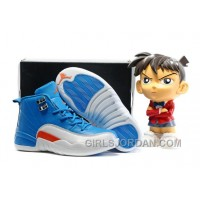 2017 Kids Air Jordan 12 Blue White Orange Basketball Shoes Super Deals