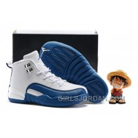 "2017 Kids Air Jordan 12 ""French Blue"" Basketball Shoes Free Shipping"