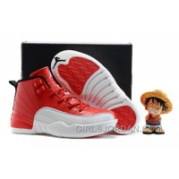 "2017 Kids Air Jordan 12 ""Gym Red"" Basketball Shoes Super Deals"