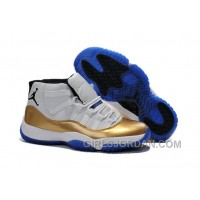 Top Deals Mens Air Jordan 11 Custom White-Gold/True Blue For Sale