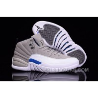 2017 Mens Air Jordan 12 Wolf Grey White Blue For Sale Cheap To Buy