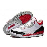 Mens Air Jordan 3 White/Fire Red-Cement Grey For Sale Super Deals