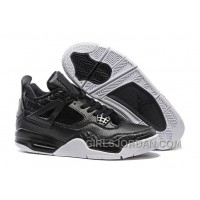 "2017 Mens Air Jordan 4 Premium ""Black"" Black/Black-Sail For Sale Discount"