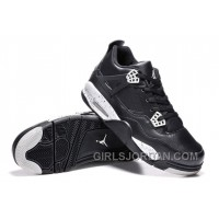 "Mens Air Jordan 4 ""Oreo"" Black Leather/White Speckle For Sale Cheap To Buy"