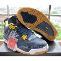 Air Jordan 4 Dunk From Above Navy Blue Yellow For Sale