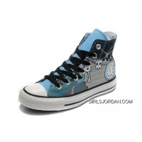 Key Skull Clock Print Blue CONVERSE High Tops Punk Collection Pirate Pattern Canvas Shoes Copuon Code