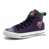 Cool CONVERSE Womens Embroidery Purple High Tops Chucks All Star Canvas Grey Suede Easy Slip Authentic