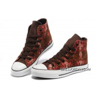 CONVERSE Chinese Year All Star Snake Texture Brown Red High Tops Canvas Sneakers For Sale
