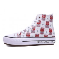 Andy Warhol X CONVERSE Women Red High Platform Tomato Soup Print CT All Shoes Discount