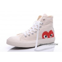 White CONVERSE Comme Des Garcons Play Chuck Taylor Hi Sneakers New Style