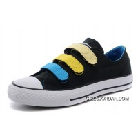Black Blue Yellow CONVERSE Chuck Taylor 3 Straps Preschool All Star Velcro Sneakers Free Shipping