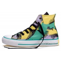CONVERSE Dazzling Chucks Spray Painting Yellow Green Black All Star Multi Colored Canvas High Tops Shoes Best