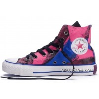 Shiny CONVERSE Chucks Spray Painting Multi Color Red Blue Black All Star Canvas High Tops Shoes Lastest