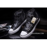 CONVERSE VS ASH Multi Buckles Black Leather Chuck Taylor All Star High Tops Sneakers Best