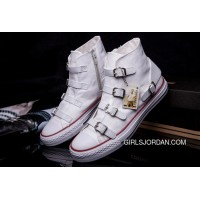 CONVERSE VS ASH Multi Buckles White Leather Chuck Taylor All Star High Tops Sneakers Best
