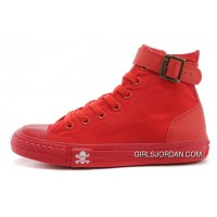 CONVERSE All Red All Star High Tops Single Buckle Skull Canvas Chuck Taylor Sneakers Copuon Code