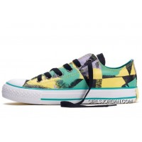 CONVERSE Chucks Spray Painting Dazzling Yellow Green Black All Star Multi Colored Canvas Tops Shoes Discount