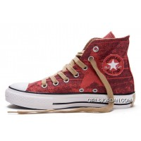 Red CONVERSE All Star Print Chuck Taylor Stonewashed Canvas High Tops Shoes Online