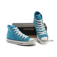 Korea Edtion CONVERSE All Star Chuck Taylor Fluorescent Light Blue High Tops Canvas Shoes New Style