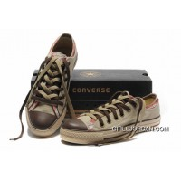 All Star CONVERSE Rens Double Upper Tongue Oxford Tops Beige Canvas Orange Plaid Brown Toe And Laces Shoes Copuon Code