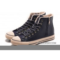 Blue CONVERSE Winter Boots Wool Inner Side Zip High Leather Copuon Code