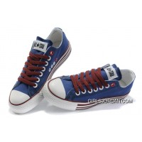 All Star Blue Red CONVERSE Multi Lines Tops Canvas Shoes Free Shipping