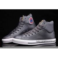 Grey CONVERSE CT AS Embroidery Padded Collar High Tops Leather Free Shipping