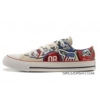 CONVERSE American Retro Pattern Printing White Tops Chuck Taylor All Star Canvas Sneakers For Sale