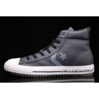 Grey Leather CONVERSE Padded Collar CT All Star High Tops Shoes Free Shipping