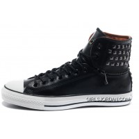 All Star CONVERSE Black Leather Rivets Zipper X High Tops Mens Sneakers New Release