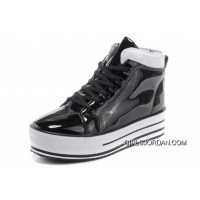 New All Star Platform CONVERSE Shiny Black Leather Shoes Super Deals