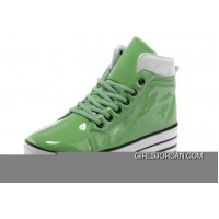 Green CONVERSE Platform All Star Shiny Leather Shoes For Sale
