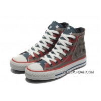 Red Grey CONVERSE American Flag Metal All Star The End Of The World Canvas Shoes Super Deals