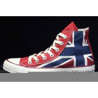 British Flag CONVERSE Rock Union Jack Blue Red Chuck Taylor All Star Canvas Sneakers Discount