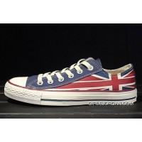 Red Blue CONVERSE Rock Union Jack British Flag Chuck Taylor All Star Canvas Sneakers Super Deals
