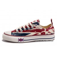 Blue CONVERSE British Flag Print All Star Beige Red Canvas London Shoes New Style