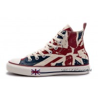 Blue CONVERSE British Flag Print All Star Beige Red Canvas London Shoes For Sale