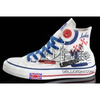 CONVERSE UK Flag London Building Printed White Canvas Transparent Soles Shoes Discount