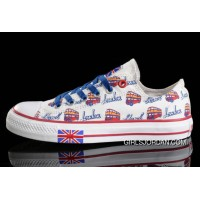 White CONVERSE UK Flag London Bus Printed Canvas Transparent Soles Shoes Best