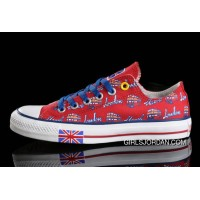 Red CONVERSE British Flag London Bus Printed Canvas Transparent Soles Shoes For Sale