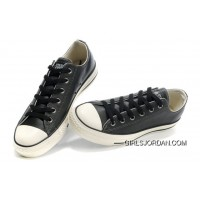 Monochrome Black Leather CONVERSE All Star Overseas Edition Sneakers Super Deals