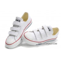 Classic CONVERSE 3 Strap All Star Velcro White Canvas Shoes Top Deals