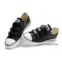 Black Leather CONVERSE All Star 3 Strap Velcro Black Sneakers New Style