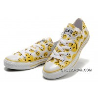 Yellow Smiley Face CONVERSE White Canvas Sneakers Women Discount