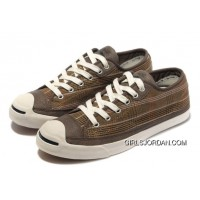 CONVERSE Plaid Jack Purcell Maroon Canvas Brown Leather Authentic