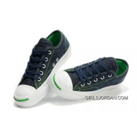 CONVERSE Jack Purcell Blue Denim Jean With Green Serif Canvas Shoes Lastest