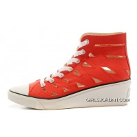 Red CONVERSE All Star Women Mermaid Wedge Heel Chuck Taylor Sandals Authentic